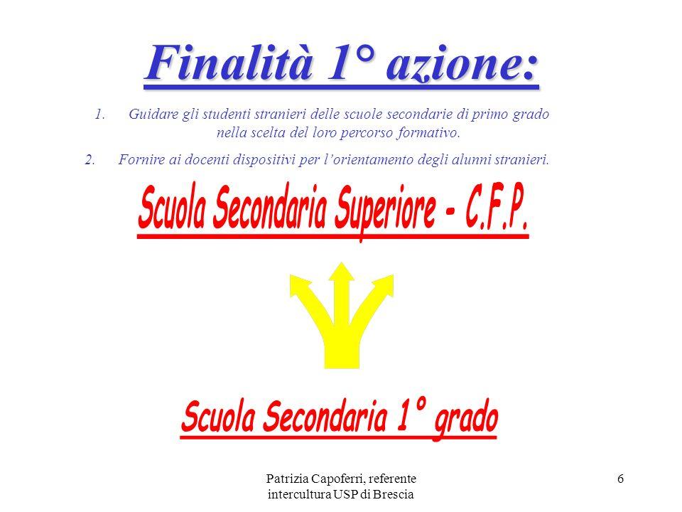 Patrizia Capoferri, referente intercultura USP di Brescia 6 Finalità 1° azione: 1. 1.Guidare gli studenti stranieri delle scuole secondarie di primo g