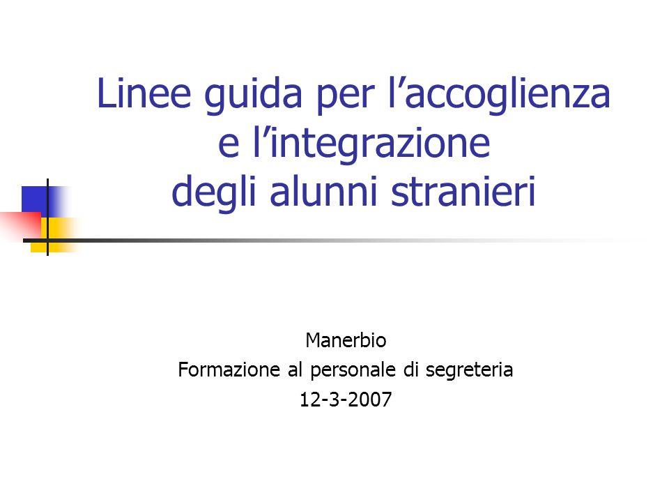 Linee guida per laccoglienza e lintegrazione degli alunni stranieri Manerbio Formazione al personale di segreteria 12-3-2007