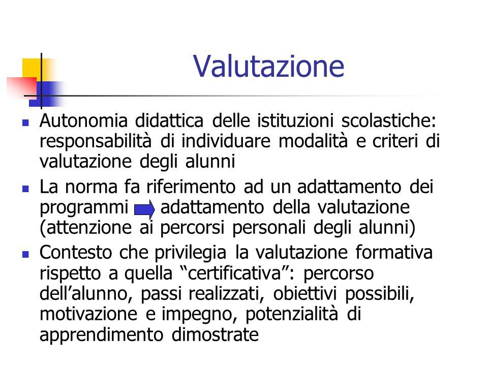 Valutazione Autonomia didattica delle istituzioni scolastiche: responsabilità di individuare modalità e criteri di valutazione degli alunni La norma f