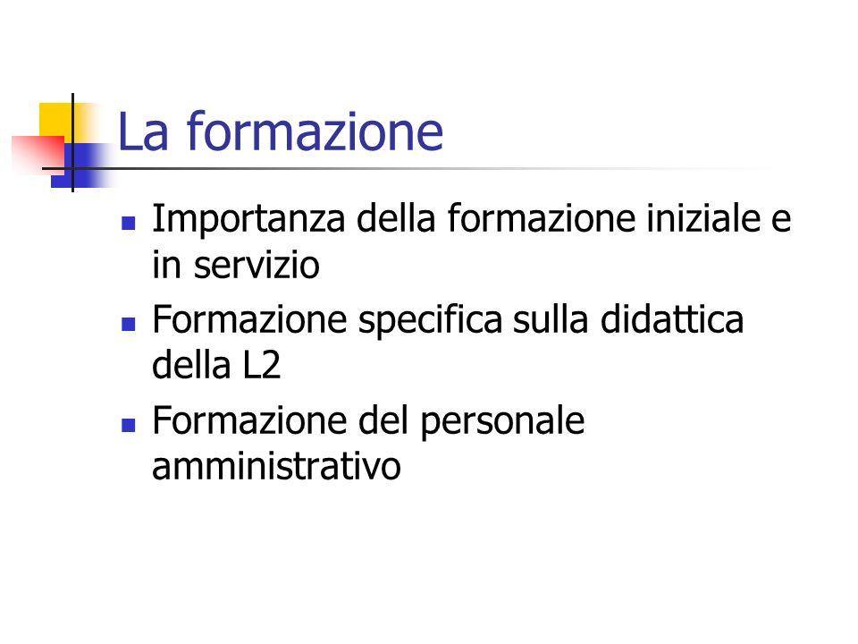 La formazione Importanza della formazione iniziale e in servizio Formazione specifica sulla didattica della L2 Formazione del personale amministrativo