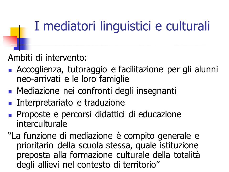 I mediatori linguistici e culturali Ambiti di intervento: Accoglienza, tutoraggio e facilitazione per gli alunni neo-arrivati e le loro famiglie Media