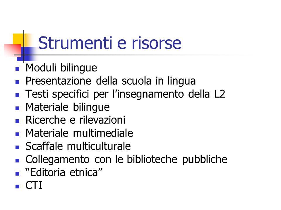 Strumenti e risorse Moduli bilingue Presentazione della scuola in lingua Testi specifici per linsegnamento della L2 Materiale bilingue Ricerche e rile