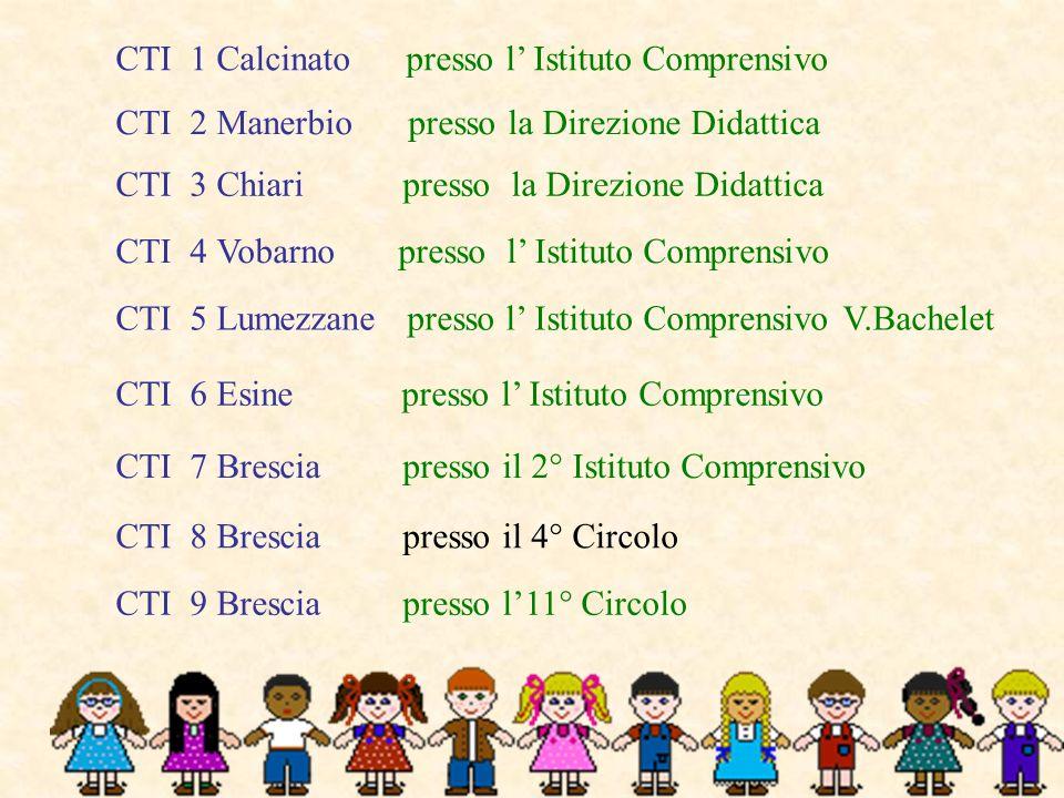 CTI 1 Calcinato presso l Istituto Comprensivo CTI 2 Manerbio presso la Direzione Didattica CTI 3 Chiari presso la Direzione Didattica CTI 4 Vobarno pr