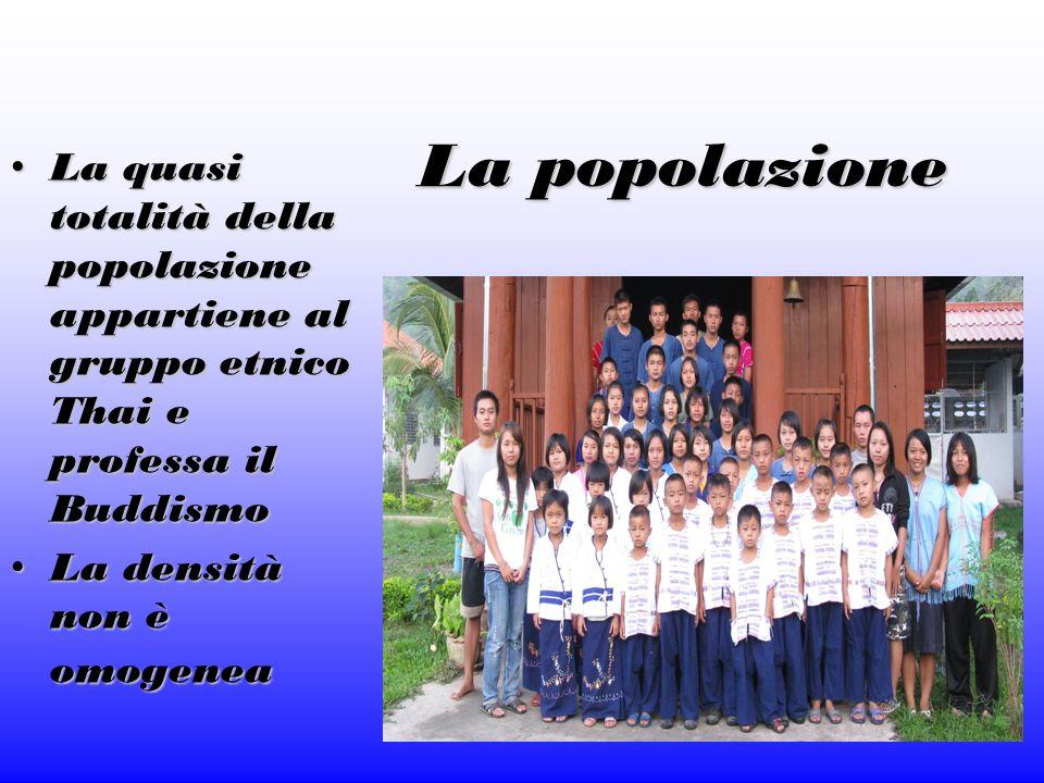 La popolazione La quasi totalità della popolazione appartiene al gruppo etnico Thai e professa il Buddismo La quasi totalità della popolazione apparti