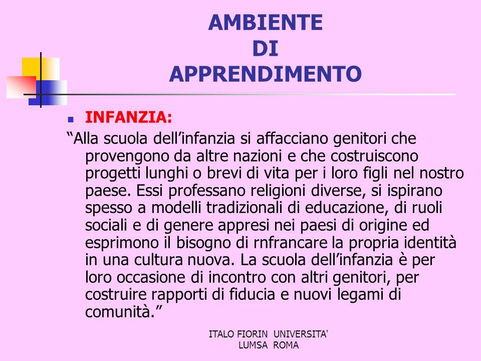 ITALO FIORIN UNIVERSITA' LUMSA ROMA AMBIENTE DI APPRENDIMENTO INFANZIA: Alla scuola dellinfanzia si affacciano genitori che provengono da altre nazion