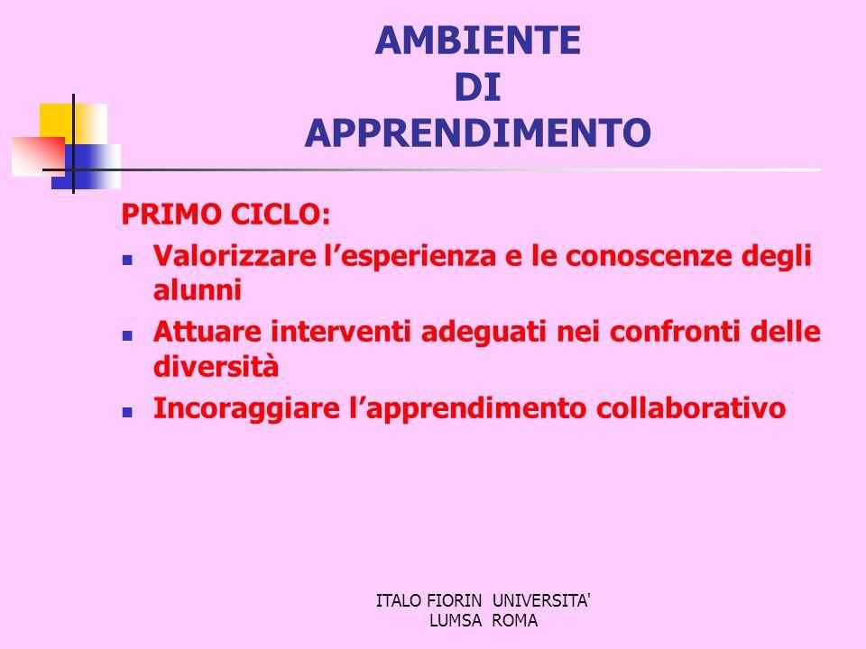 ITALO FIORIN UNIVERSITA' LUMSA ROMA AMBIENTE DI APPRENDIMENTO PRIMO CICLO: Valorizzare lesperienza e le conoscenze degli alunni Attuare interventi ade
