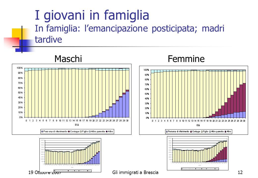 19 Ottobre 2007Gli immigrati a Brescia12 I giovani in famiglia In famiglia: lemancipazione posticipata; madri tardive Maschi Femmine
