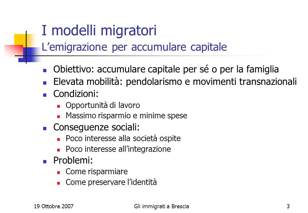 19 Ottobre 2007Gli immigrati a Brescia14 I giovani tra lavoro e studio Scuola poca, lavoro molto, comportamenti e ruoli moderni Maschi Femmine