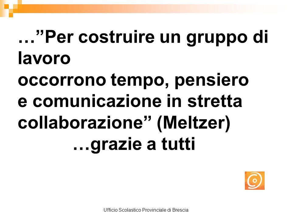 Ufficio Scolastico Provinciale di Brescia …Per costruire un gruppo di lavoro occorrono tempo, pensiero e comunicazione in stretta collaborazione (Meltzer) …grazie a tutti