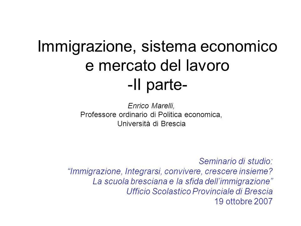 Immigrazione, sistema economico e mercato del lavoro -II parte- Enrico Marelli, Professore ordinario di Politica economica, Università di Brescia Semi