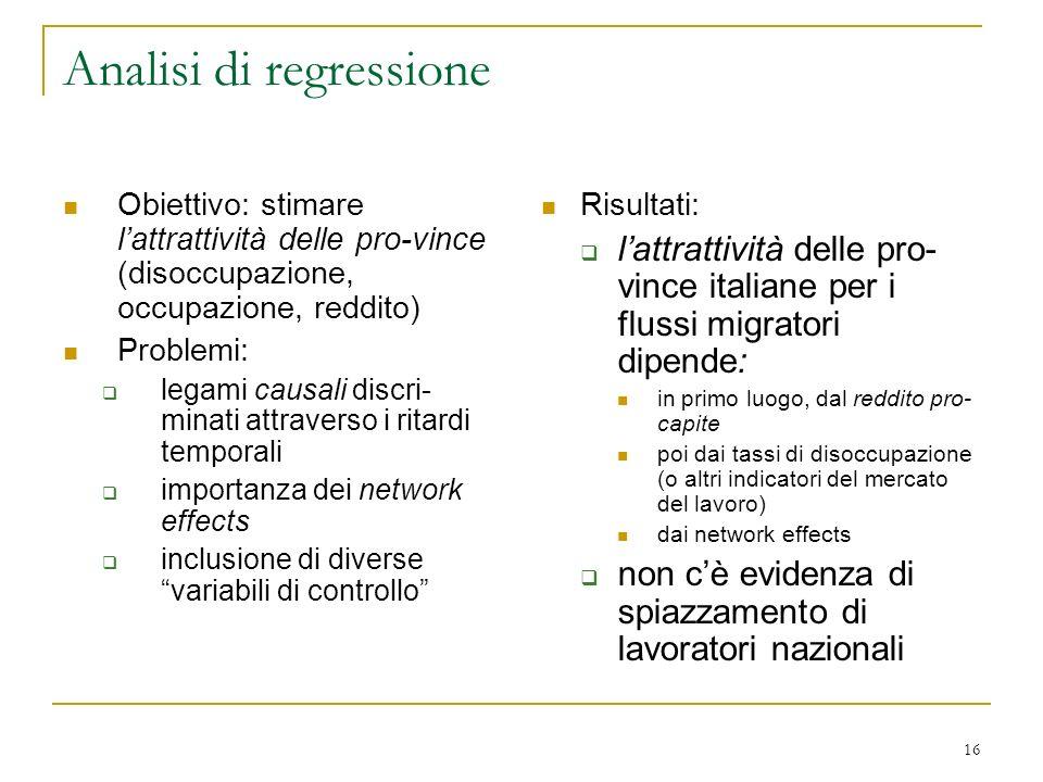 16 Analisi di regressione Obiettivo: stimare lattrattività delle pro-vince (disoccupazione, occupazione, reddito) Problemi: legami causali discri- min