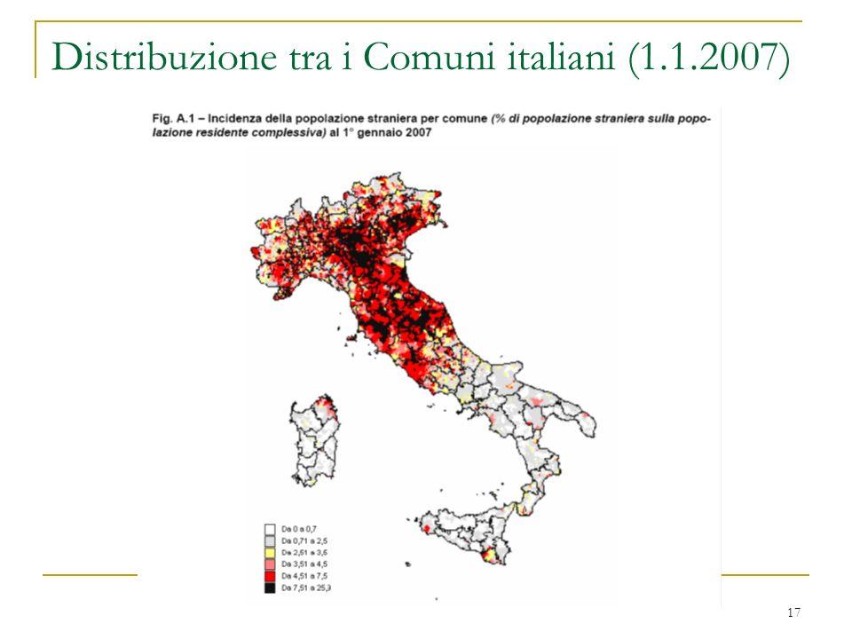 17 Distribuzione tra i Comuni italiani (1.1.2007)