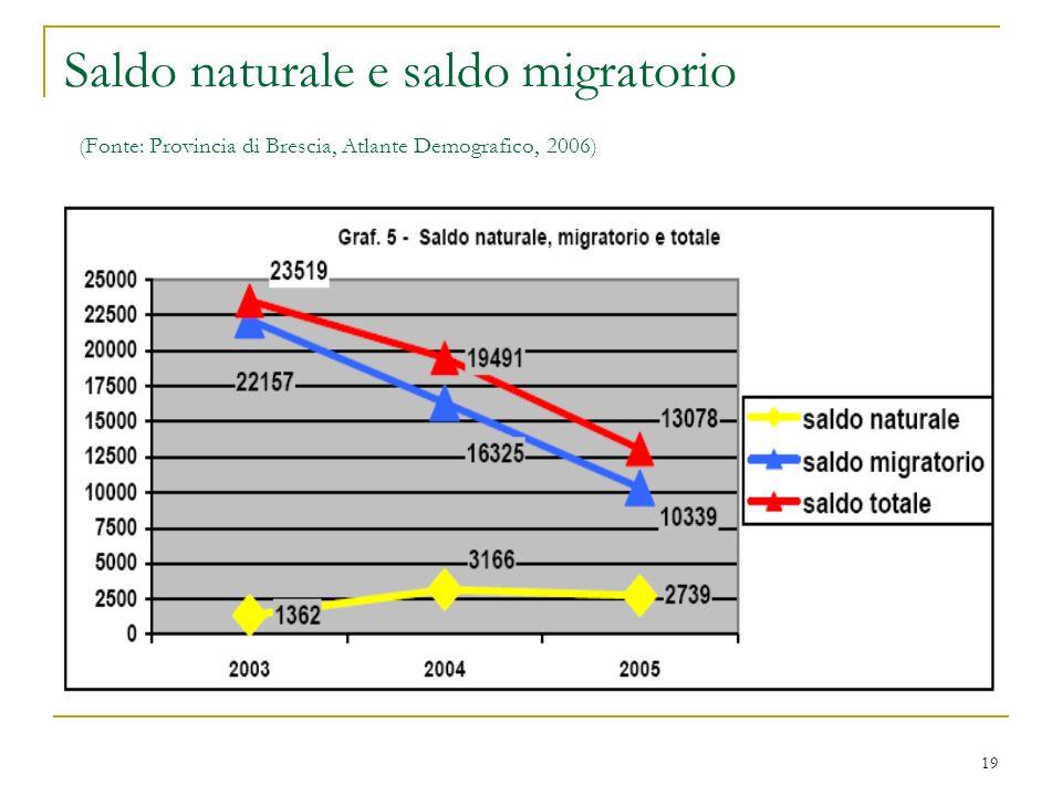 19 Saldo naturale e saldo migratorio (Fonte: Provincia di Brescia, Atlante Demografico, 2006)