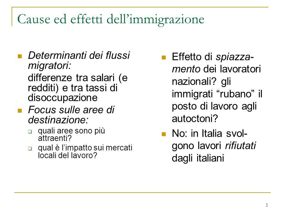 5 Cause ed effetti dellimmigrazione Determinanti dei flussi migratori: differenze tra salari (e redditi) e tra tassi di disoccupazione Focus sulle are
