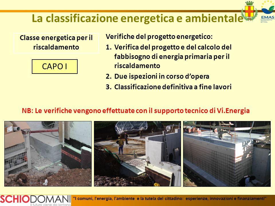 La classificazione energetica e ambientale Classe energetica per il riscaldamento Verifiche del progetto energetico: 1.Verifica del progetto e del cal