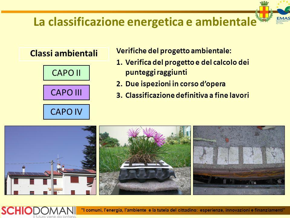 Classi ambientali Verifiche del progetto ambientale: 1.Verifica del progetto e del calcolo dei punteggi raggiunti 2.Due ispezioni in corso dopera 3.Cl