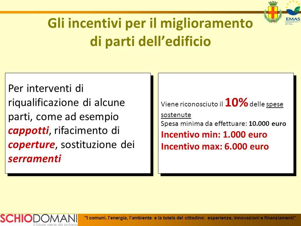Gli incentivi per il miglioramento di parti delledificio Per interventi di riqualificazione di alcune parti, come ad esempio cappotti, rifacimento di