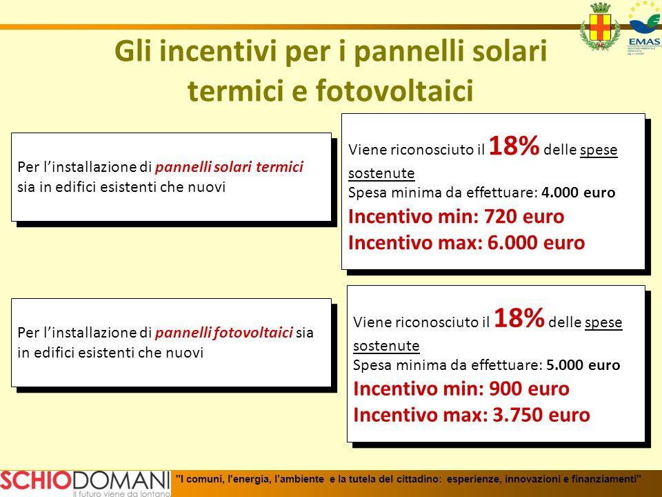 Gli incentivi per i pannelli solari termici e fotovoltaici Per linstallazione di pannelli solari termici sia in edifici esistenti che nuovi Viene rico
