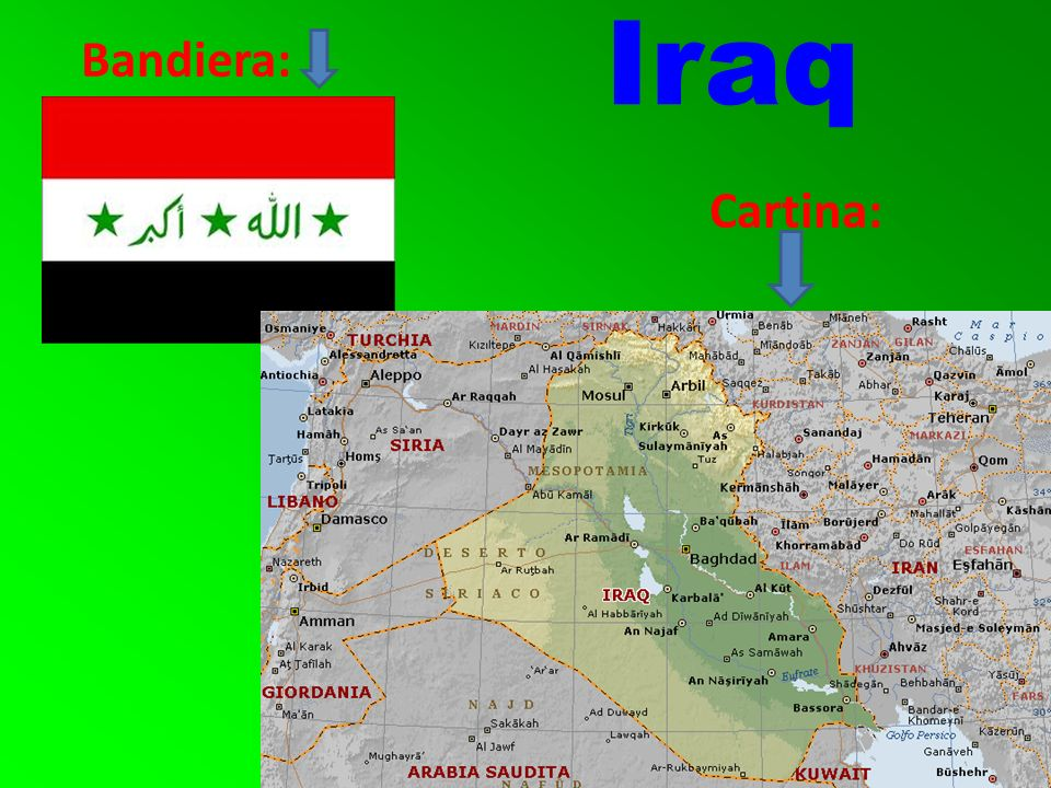 Iraq Bandiera: Cartina:
