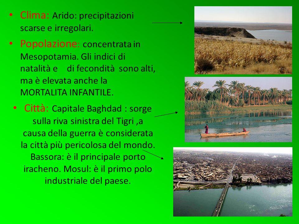 Clima: Arido: precipitazioni scarse e irregolari.Popolazione : concentrata in Mesopotamia.