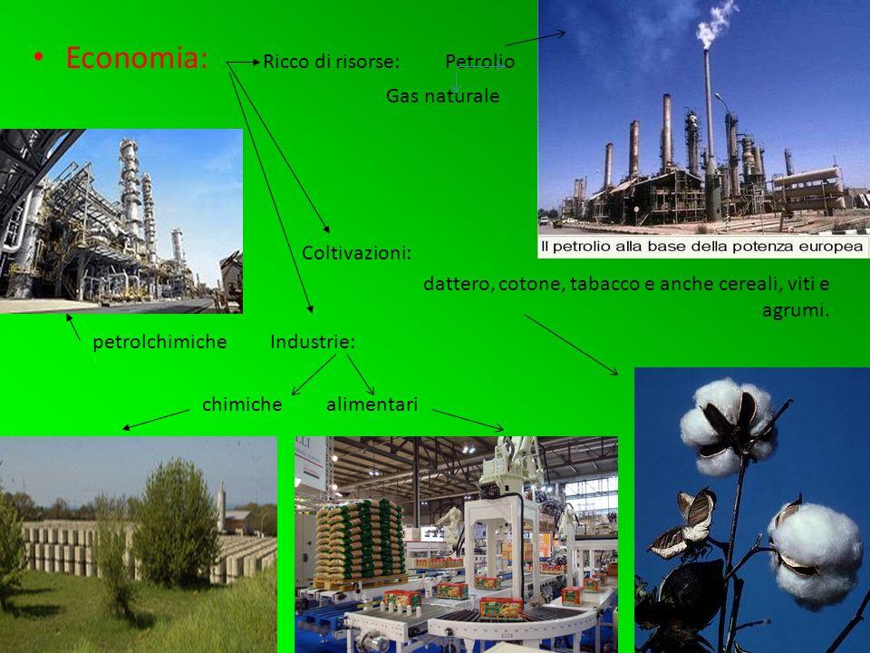 Economia: Ricco di risorse: Petrolio Gas naturale Coltivazioni: dattero, cotone, tabacco e anche cereali, viti e agrumi.