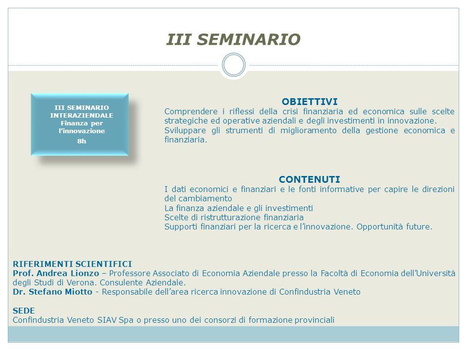 III SEMINARIO OBIETTIVI Comprendere i riflessi della crisi finanziaria ed economica sulle scelte strategiche ed operative aziendali e degli investimenti in innovazione.