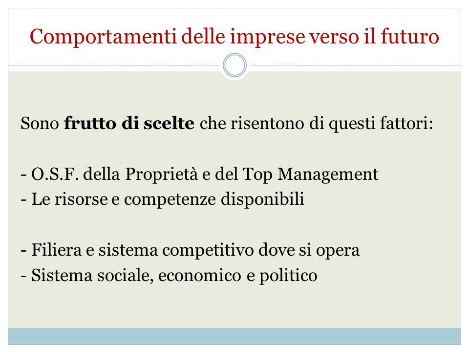 Comportamenti delle imprese verso il futuro Sono frutto di scelte che risentono di questi fattori: - O.S.F.