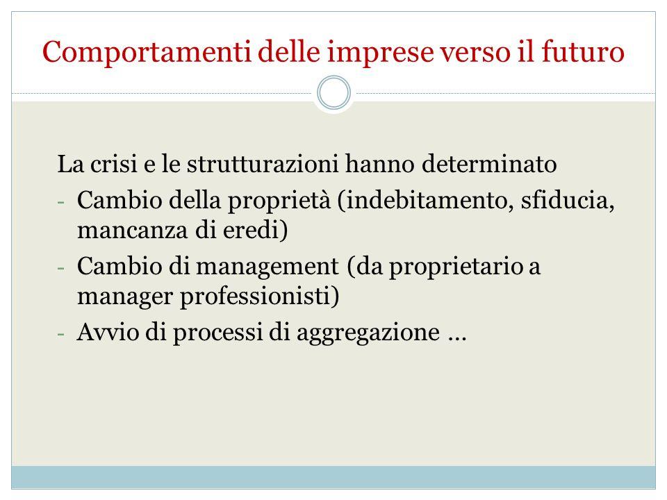 La crisi e le strutturazioni hanno determinato - Cambio della proprietà (indebitamento, sfiducia, mancanza di eredi) - Cambio di management (da proprietario a manager professionisti) - Avvio di processi di aggregazione … Comportamenti delle imprese verso il futuro