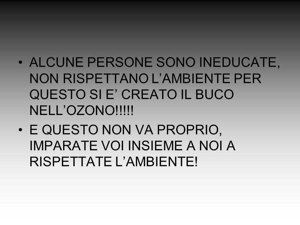 ALCUNE PERSONE SONO INEDUCATE, NON RISPETTANO LAMBIENTE PER QUESTO SI E CREATO IL BUCO NELLOZONO!!!!.