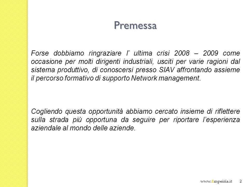 2 Premessa Forse dobbiamo ringraziare l ultima crisi 2008 – 2009 come occasione per molti dirigenti industriali, usciti per varie ragioni dal sistema produttivo, di conoscersi presso SIAV affrontando assieme il percorso formativo di supporto Network management.