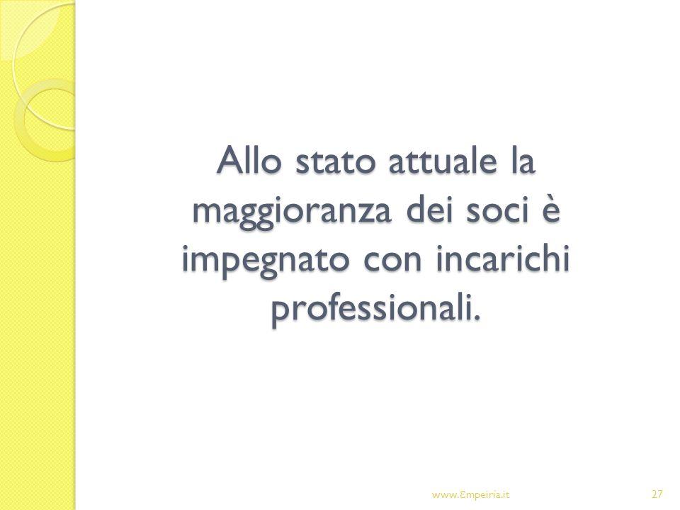Allo stato attuale la maggioranza dei soci è impegnato con incarichi professionali.