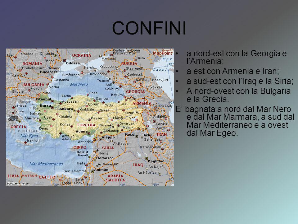CONFINI a nord-est con la Georgia e lArmenia; a est con Armenia e Iran; a sud-est con lIraq e la Siria; A nord-ovest con la Bulgaria e la Grecia.