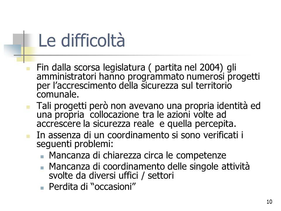 10 Le difficoltà Fin dalla scorsa legislatura ( partita nel 2004) gli amministratori hanno programmato numerosi progetti per laccrescimento della sicurezza sul territorio comunale.