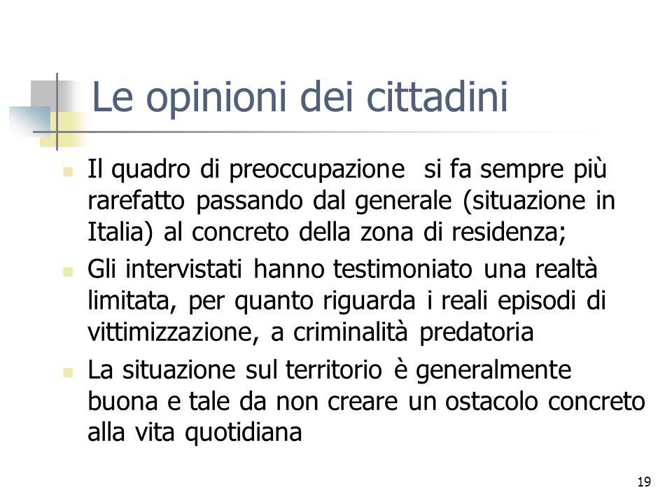 19 Le opinioni dei cittadini Il quadro di preoccupazione si fa sempre più rarefatto passando dal generale (situazione in Italia) al concreto della zon