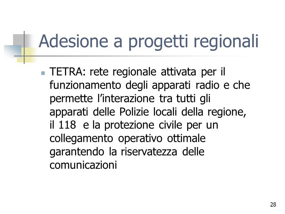 28 Adesione a progetti regionali TETRA: rete regionale attivata per il funzionamento degli apparati radio e che permette linterazione tra tutti gli apparati delle Polizie locali della regione, il 118 e la protezione civile per un collegamento operativo ottimale garantendo la riservatezza delle comunicazioni
