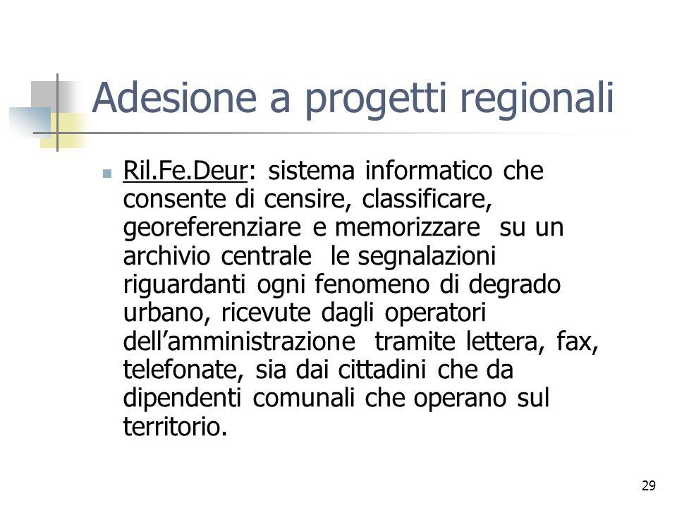 29 Adesione a progetti regionali Ril.Fe.Deur: sistema informatico che consente di censire, classificare, georeferenziare e memorizzare su un archivio