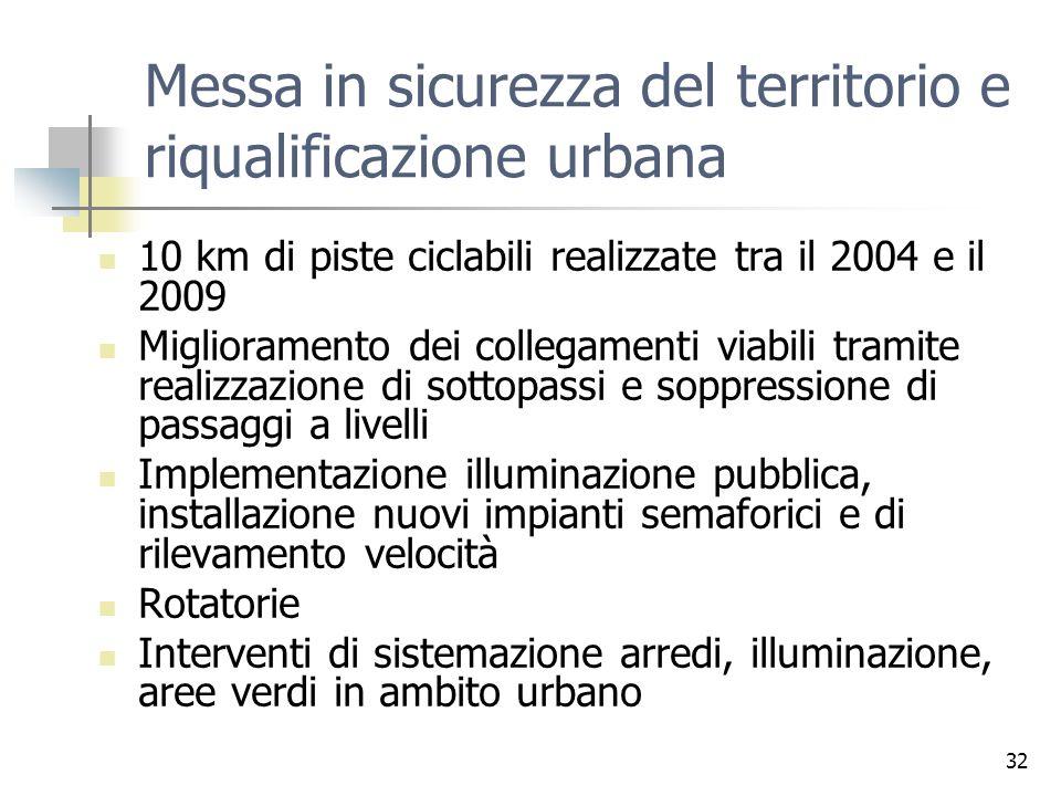 32 Messa in sicurezza del territorio e riqualificazione urbana 10 km di piste ciclabili realizzate tra il 2004 e il 2009 Miglioramento dei collegament
