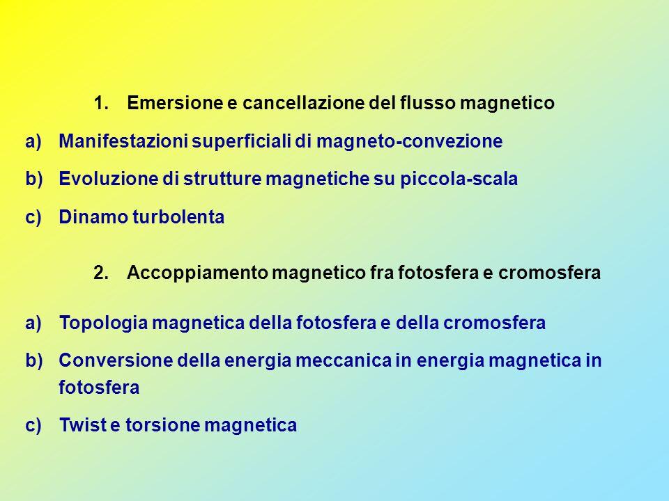 1.Emersione e cancellazione del flusso magnetico a)Manifestazioni superficiali di magneto-convezione b)Evoluzione di strutture magnetiche su piccola-scala c)Dinamo turbolenta a)Topologia magnetica della fotosfera e della cromosfera b)Conversione della energia meccanica in energia magnetica in fotosfera c)Twist e torsione magnetica 2.Accoppiamento magnetico fra fotosfera e cromosfera