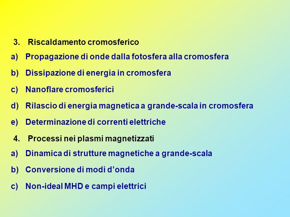 3.Riscaldamento cromosferico a)Propagazione di onde dalla fotosfera alla cromosfera b)Dissipazione di energia in cromosfera c)Nanoflare cromosferici d)Rilascio di energia magnetica a grande-scala in cromosfera e)Determinazione di correnti elettriche a)Dinamica di strutture magnetiche a grande-scala b)Conversione di modi donda c)Non-ideal MHD e campi elettrici 4.Processi nei plasmi magnetizzati