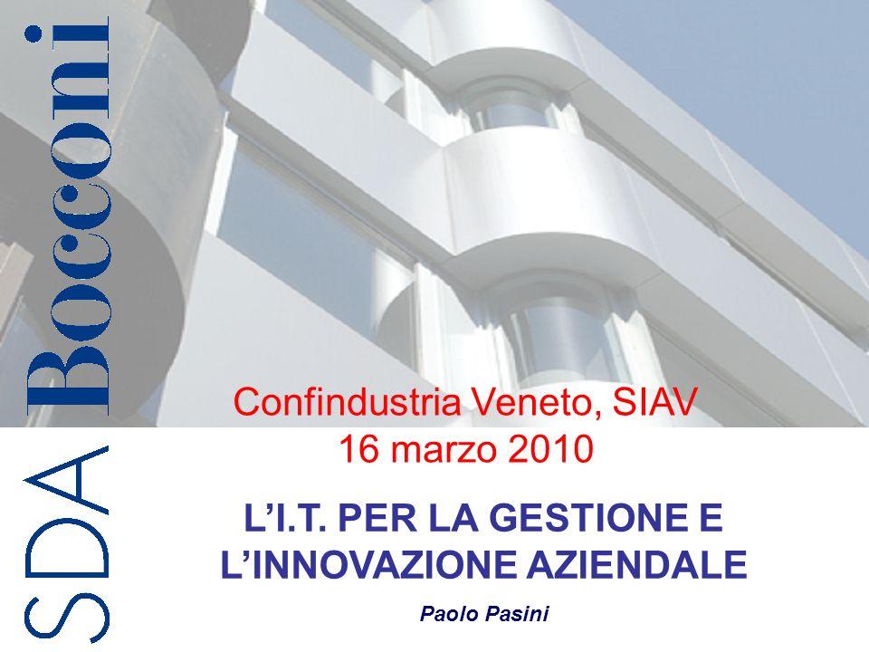 Copyright SDA Bocconi 1 LI.T. PER LA GESTIONE E LINNOVAZIONE AZIENDALE Paolo Pasini Confindustria Veneto, SIAV 16 marzo 2010