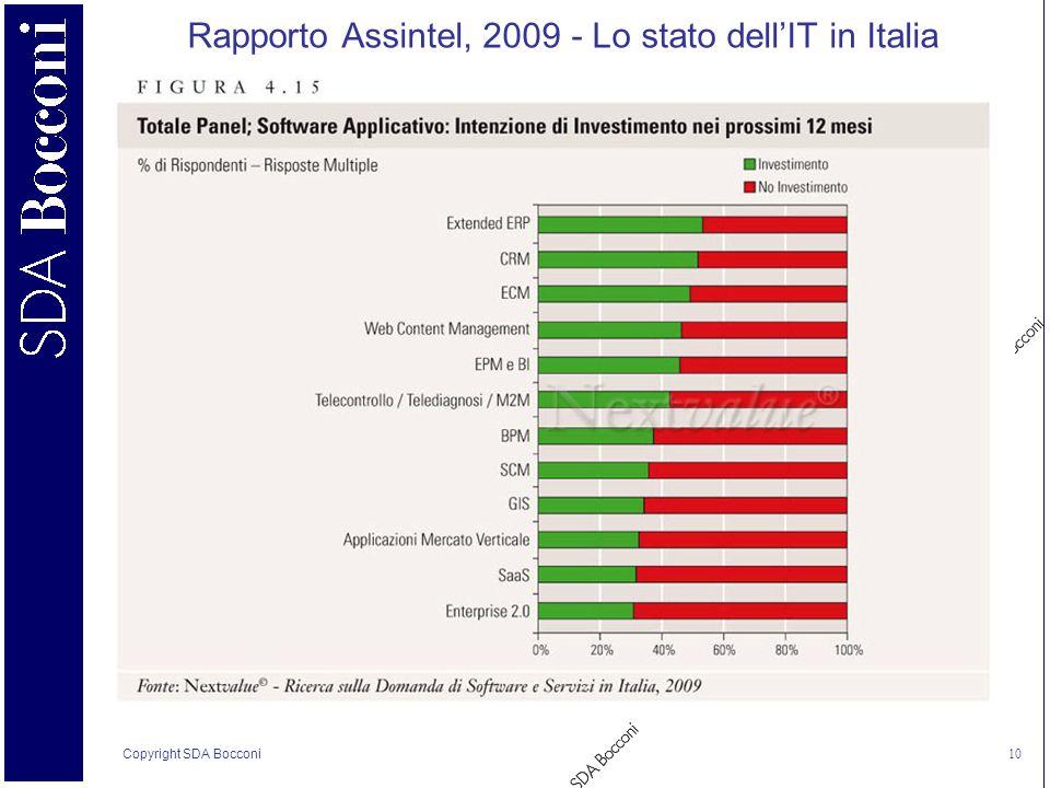 Copyright SDA Bocconi 10 Rapporto Assintel, 2009 - Lo stato dellIT in Italia