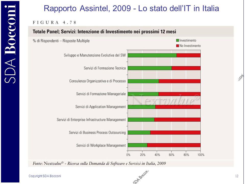 Copyright SDA Bocconi 12 Rapporto Assintel, 2009 - Lo stato dellIT in Italia