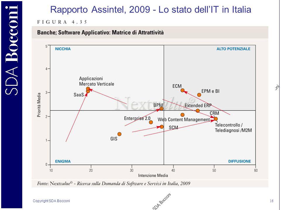 Copyright SDA Bocconi 16 Rapporto Assintel, 2009 - Lo stato dellIT in Italia