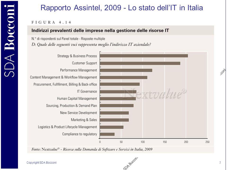 Copyright SDA Bocconi 5 Rapporto Assintel, 2009 - Lo stato dellIT in Italia