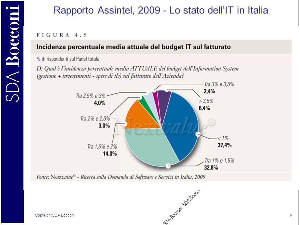 Copyright SDA Bocconi 6 Rapporto Assintel, 2009 - Lo stato dellIT in Italia