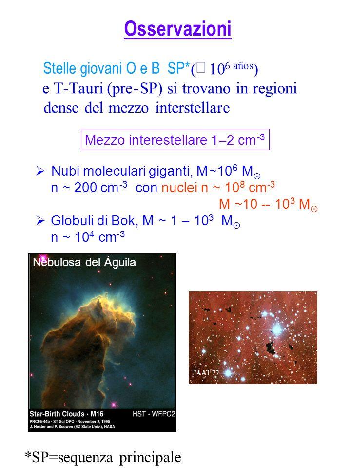 Osservazioni Stelle giovani O e B SP* ( 10 6 años ) e T-Tauri (pre-SP) si trovano in regioni dense del mezzo interstellare Nubi moleculari giganti, M~10 6 M n~ 200 cm -3 connuclein~ 10 8 cm -3 M~10--10 3 M Globuli di Bok, M~ 1–10 3 M n~ 10 4 cm -3 Nebulosa del Águila Mezzo interestellare 1–2 cm -3 *SP=sequenza principale