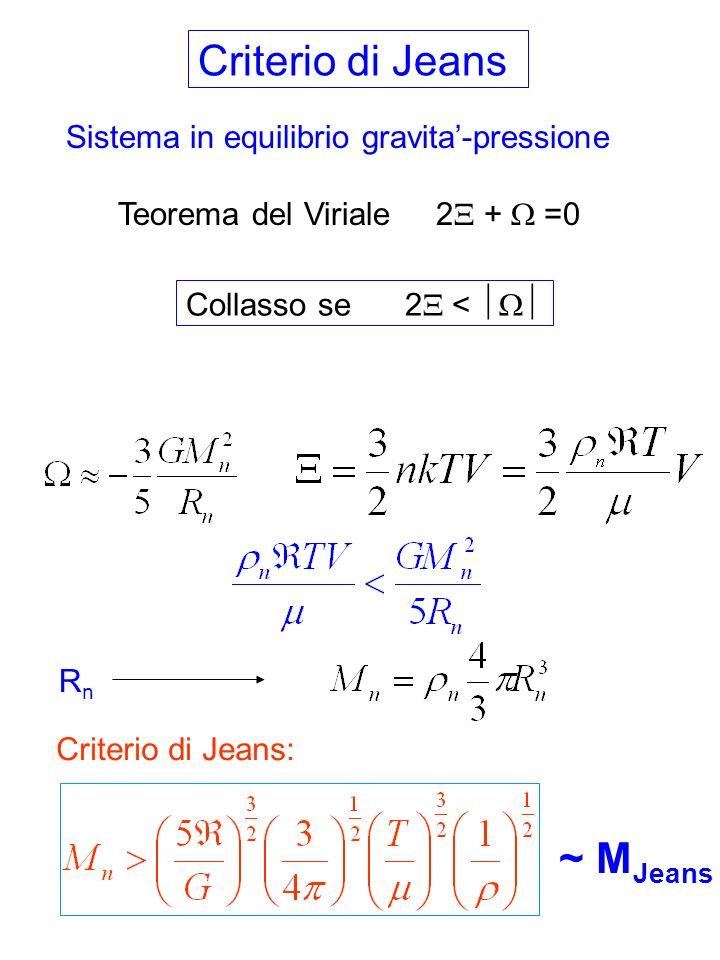 Valutiamo la massa di Jeans: Nubi moleculari giganti (M~10 6 M ): T~20 K n~200 cm -3 =6.68 10 -22 g/cm 3 M J ~ 962 M Globuli di Bok (1-- 10 3 M ): T~10 K n~10 4 cm -3 =1.6 10 -20 g/cm 3 M J ~ 160 M Nubi di idrogeno diffuse(1 – 100 M ) T~50 K n~500 cm -3 =8.4 10 -22 g/cm 3 M J ~ 1500 M pero M nube < 100 M Come si formano le stelle di 0.1 – 10 M ?