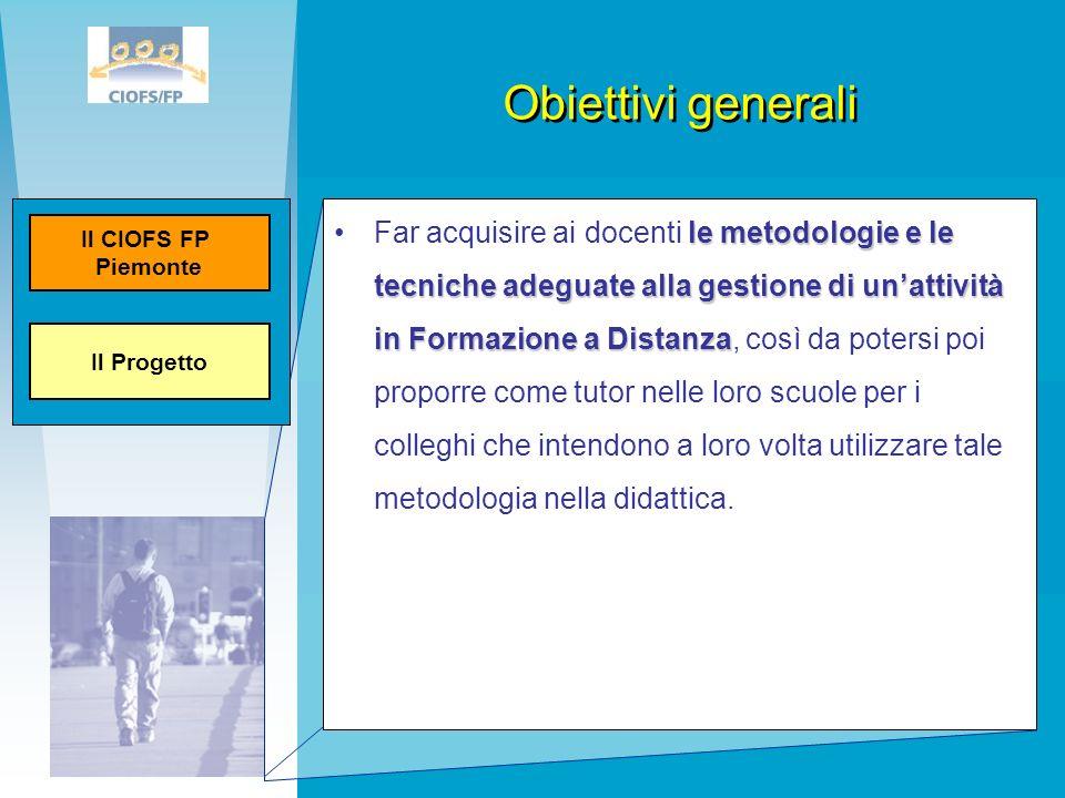 Obiettivi generali le metodologie e le tecniche adeguate alla gestione di unattività in Formazione a DistanzaFar acquisire ai docenti le metodologie e