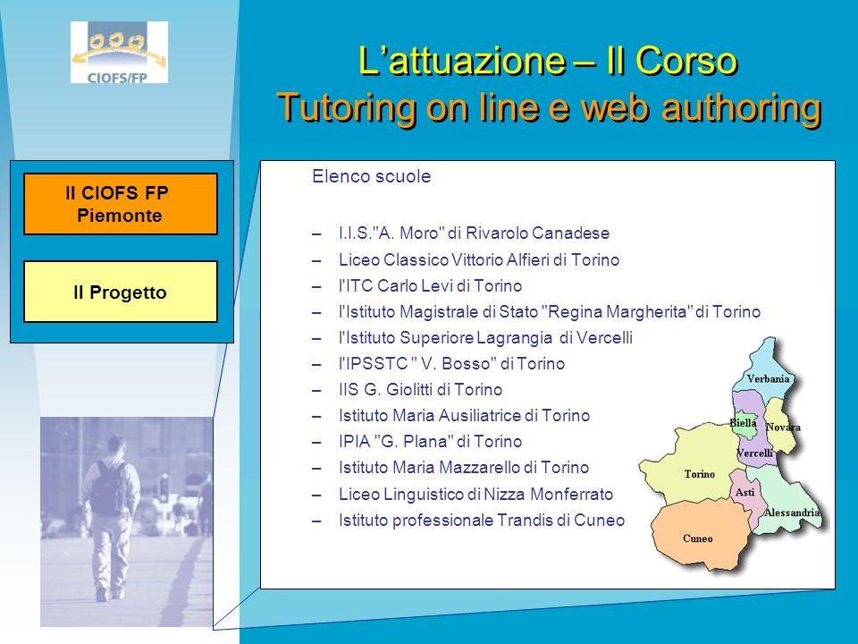 Lattuazione – Il Corso Tutoring on line e web authoring Elenco scuole –I.I.S.