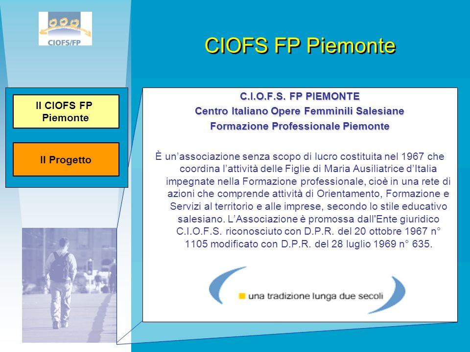 CIOFS FP Piemonte C.I.O.F.S. FP PIEMONTE Centro Italiano Opere Femminili Salesiane Formazione Professionale Piemonte È unassociazione senza scopo di l